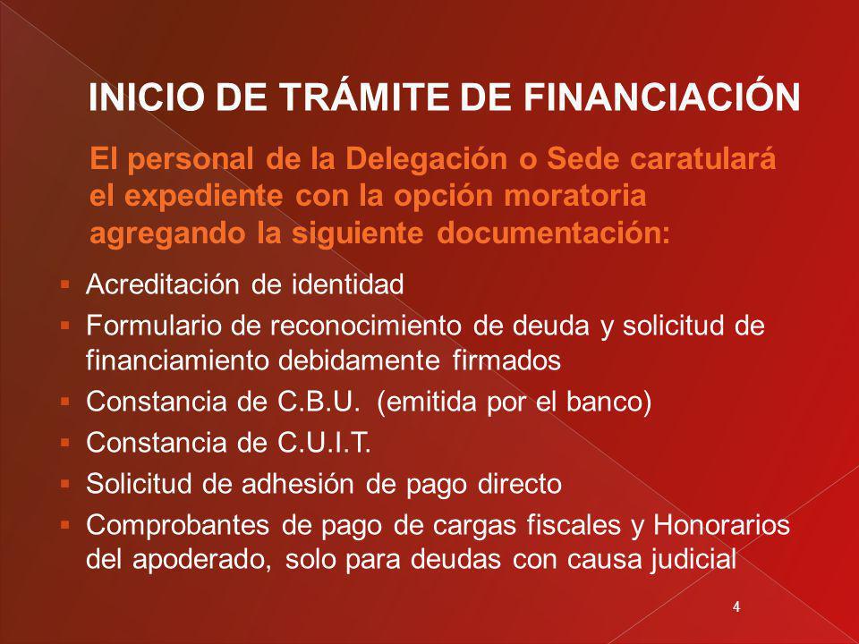 4 Acreditación de identidad Formulario de reconocimiento de deuda y solicitud de financiamiento debidamente firmados Constancia de C.B.U.