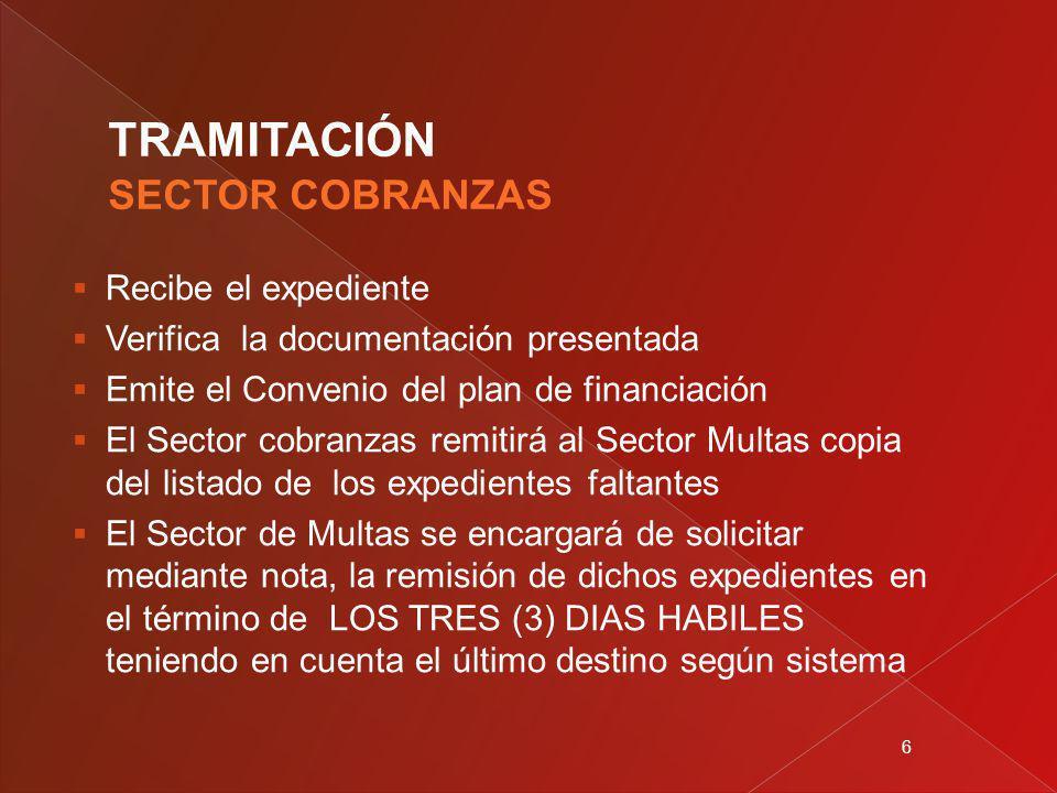 6 Recibe el expediente Verifica la documentación presentada Emite el Convenio del plan de financiación El Sector cobranzas remitirá al Sector Multas c
