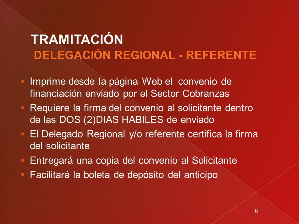 8 Imprime desde la página Web el convenio de financiación enviado por el Sector Cobranzas Requiere la firma del convenio al solicitante dentro de las