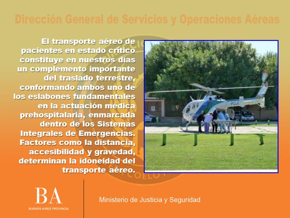 El transporte aéreo de pacientes en estado crítico constituye en nuestros días un complemento importante del traslado terrestre, conformando ambos uno de los eslabones fundamentales en la actuación médica prehospitalaria, enmarcada dentro de los Sistemas Integrales de Emergencias.