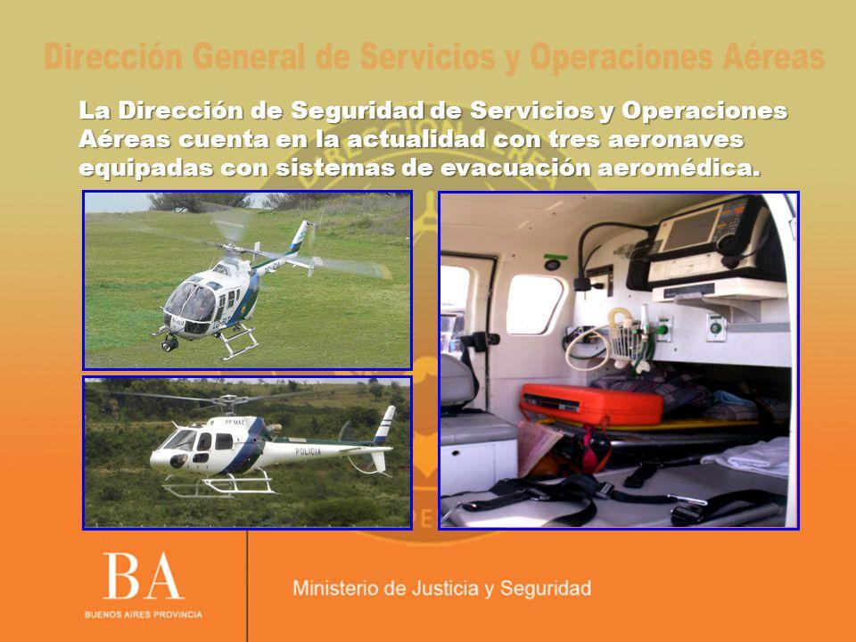 La Dirección de Seguridad de Servicios y Operaciones Aéreas cuenta en la actualidad con tres aeronaves equipadas con sistemas de evacuación aeromédica