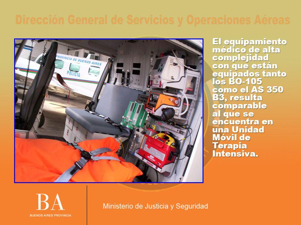 El equipamiento médico de alta complejidad con que están equipados tanto los BO-105 como el AS 350 B3, resulta comparable al que se encuentra en una U