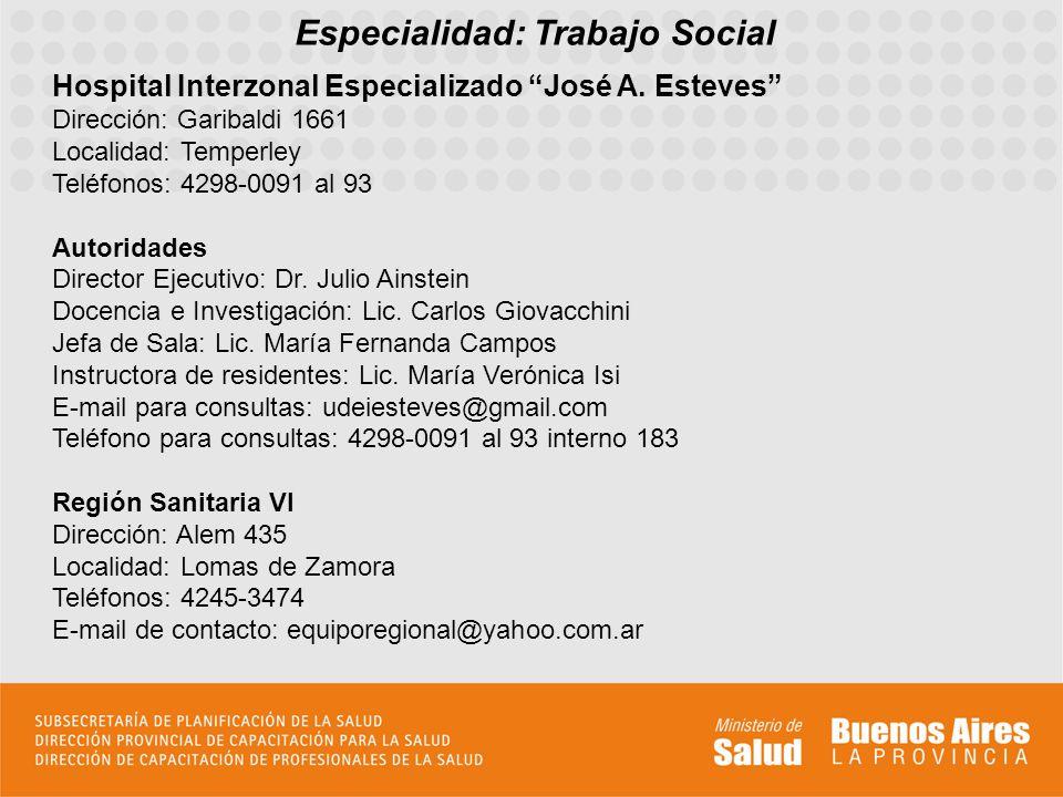 Especialidad: Trabajo Social Hospital Interzonal Especializado José A. Esteves Dirección: Garibaldi 1661 Localidad: Temperley Teléfonos: 4298-0091 al