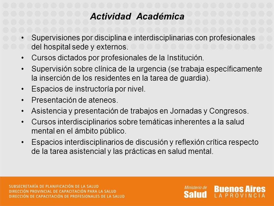Supervisiones por disciplina e interdisciplinarias con profesionales del hospital sede y externos. Cursos dictados por profesionales de la Institución