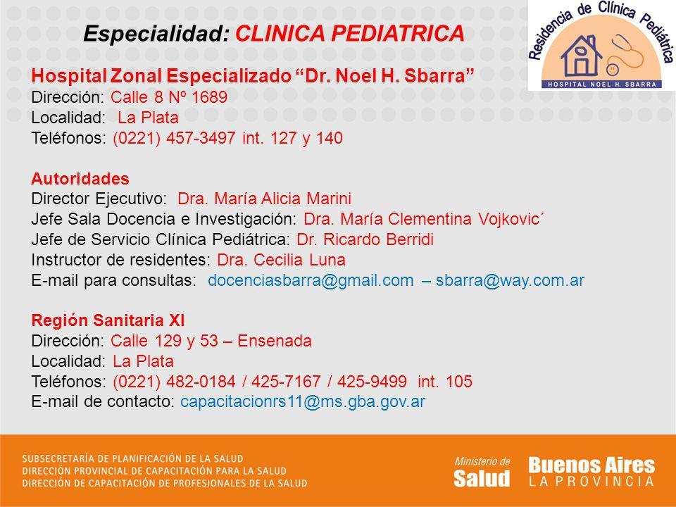 Perfil asistencial de la sede El Hospital Zonal Especializado Dr.