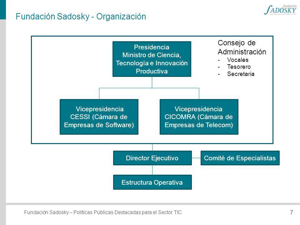 Fundación Sadosky – Políticas Públicas Destacadas para el Sector TIC Fundación Sadosky - Organización Presidencia Ministro de Ciencia, Tecnología e In