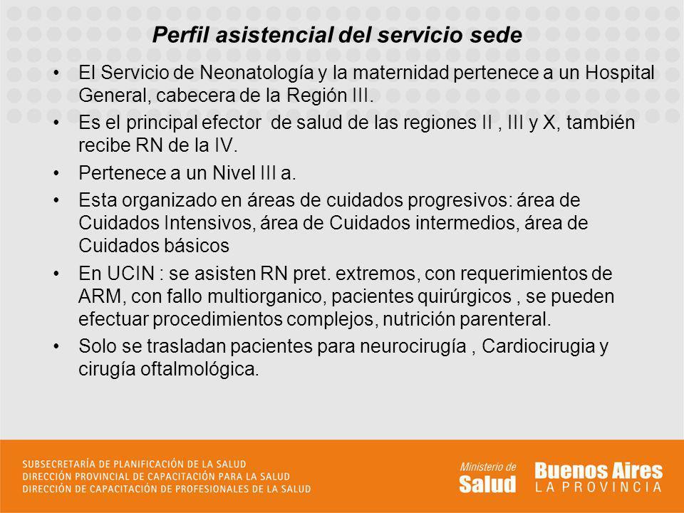 Perfil asistencial del servicio sede El Servicio de Neonatología y la maternidad pertenece a un Hospital General, cabecera de la Región III.