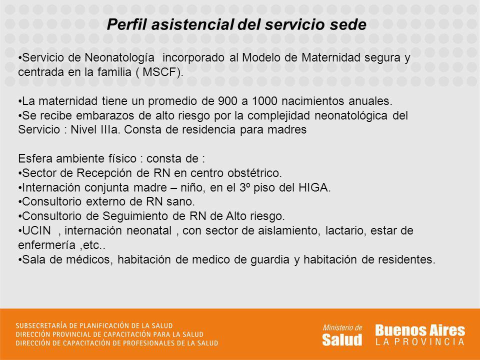 Perfil asistencial del servicio sede Esfera RRHH: Neonatologos, estructura: 1 jefe de servicio.