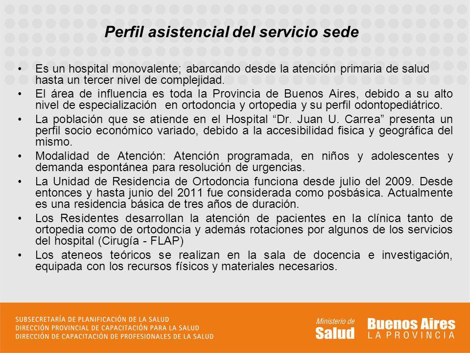 Perfil asistencial del servicio sede Es un hospital monovalente; abarcando desde la atención primaria de salud hasta un tercer nivel de complejidad.