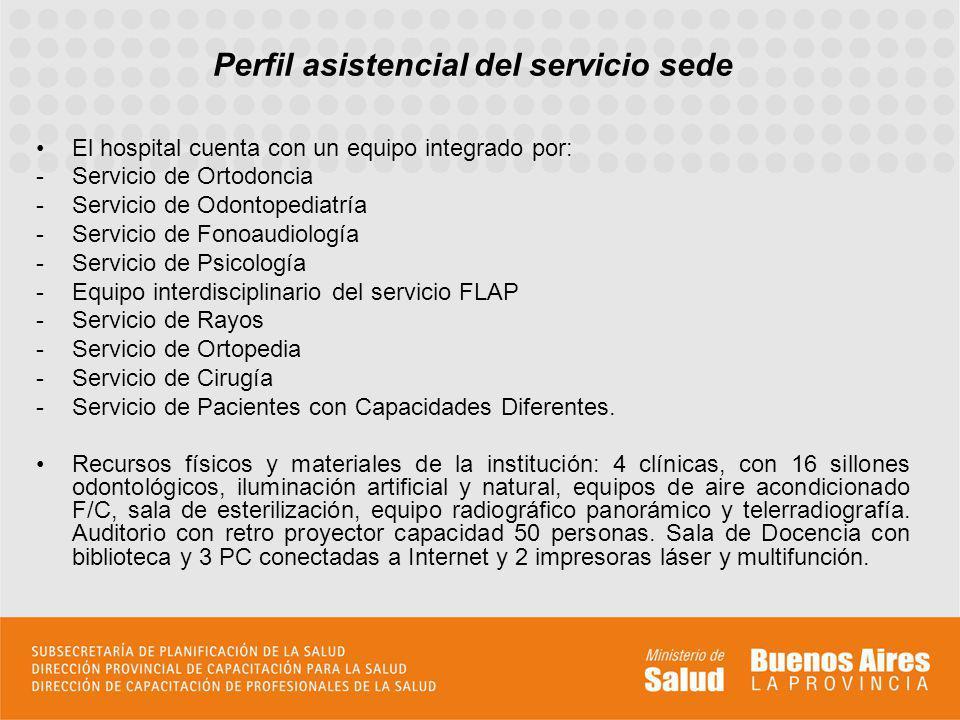 Perfil asistencial del servicio sede El hospital cuenta con un equipo integrado por: -Servicio de Ortodoncia -Servicio de Odontopediatría -Servicio de