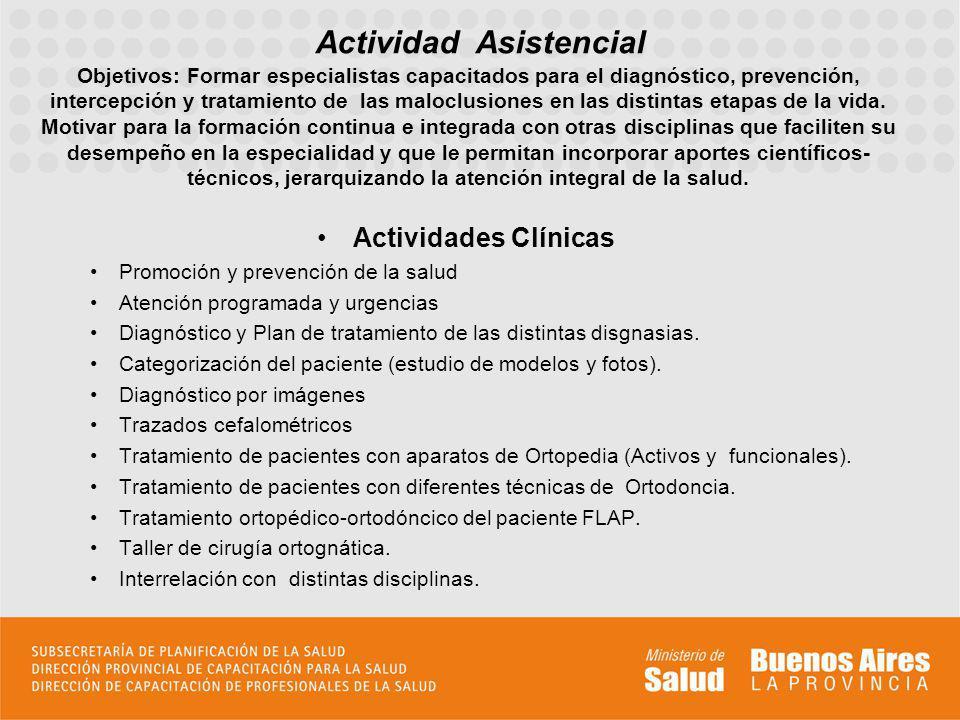Actividades Clínicas Promoción y prevención de la salud Atención programada y urgencias Diagnóstico y Plan de tratamiento de las distintas disgnasias.