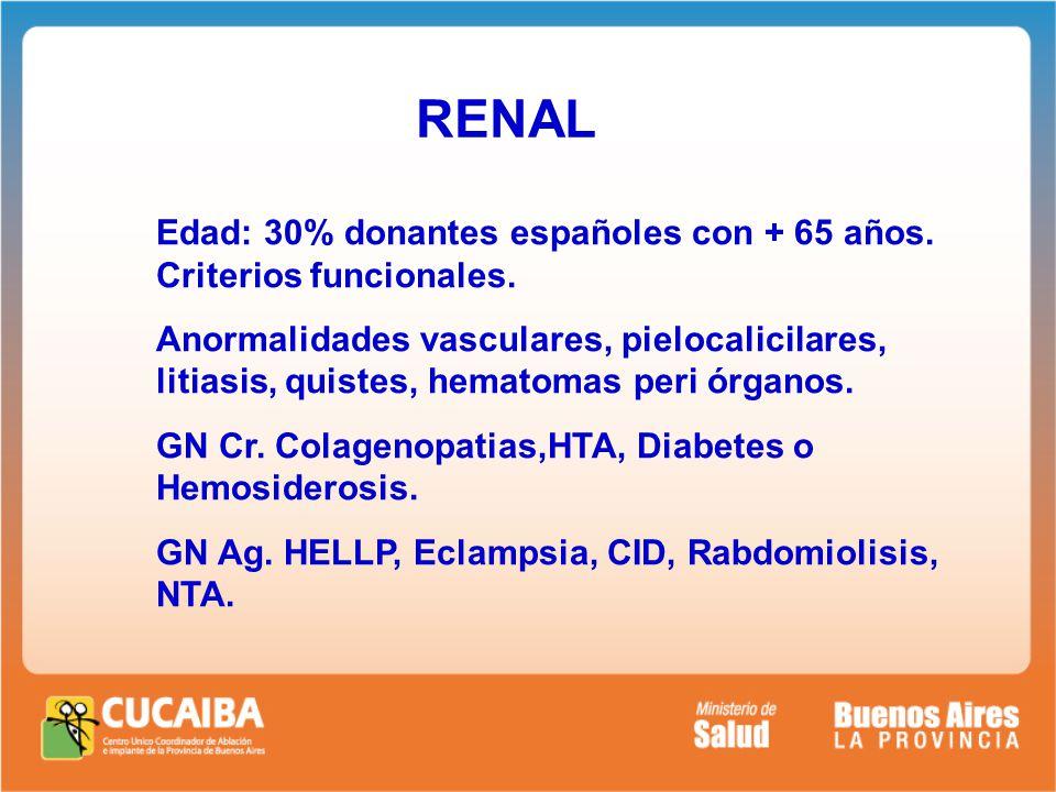 RENAL Edad: 30% donantes españoles con + 65 años. Criterios funcionales.