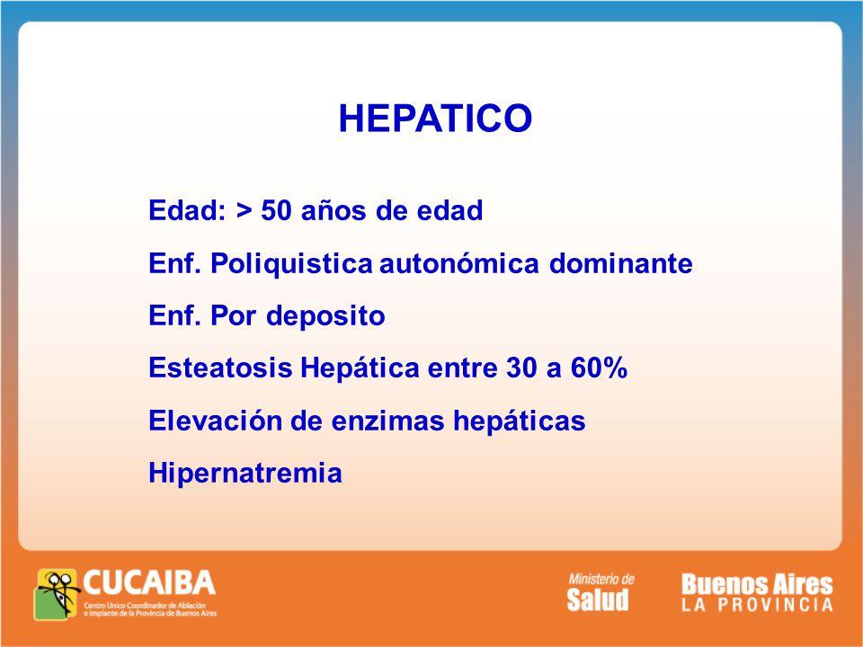 HEPATICO Edad: > 50 años de edad Enf. Poliquistica autonómica dominante Enf.