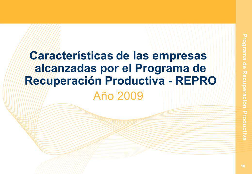 Programa de Recuperación Productiva 10 Características de las empresas alcanzadas por el Programa de Recuperación Productiva - REPRO Año 2009