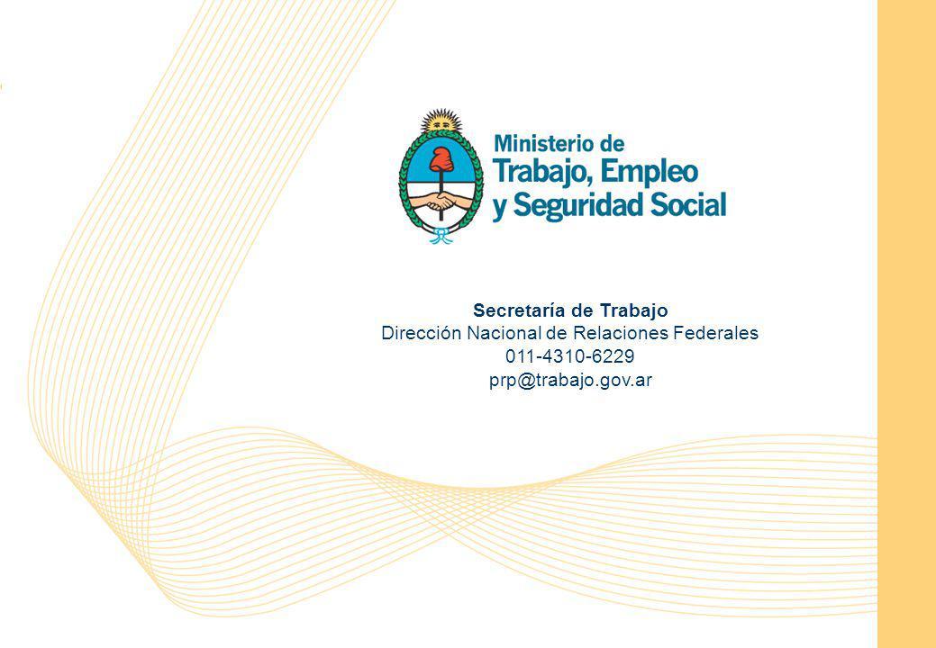 Programa de Recuperación Productiva 14 Secretaría de Trabajo Dirección Nacional de Relaciones Federales 011-4310-6229 prp@trabajo.gov.ar