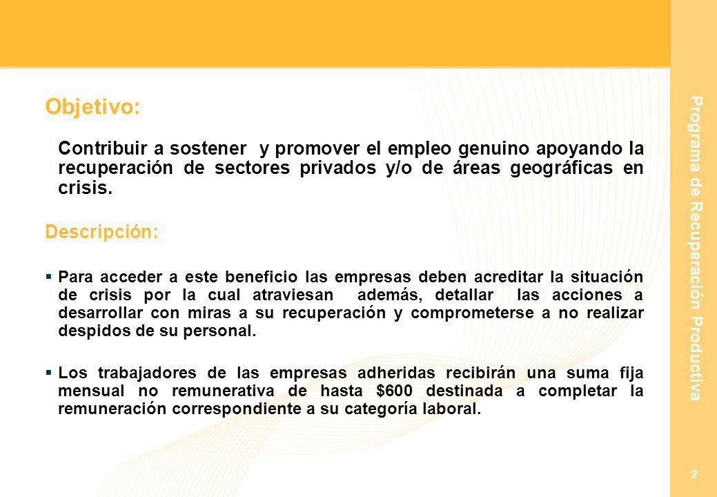 Programa de Recuperación Productiva 2 Objetivo: Contribuir a sostener y promover el empleo genuino apoyando la recuperación de sectores privados y/o de áreas geográficas en crisis.