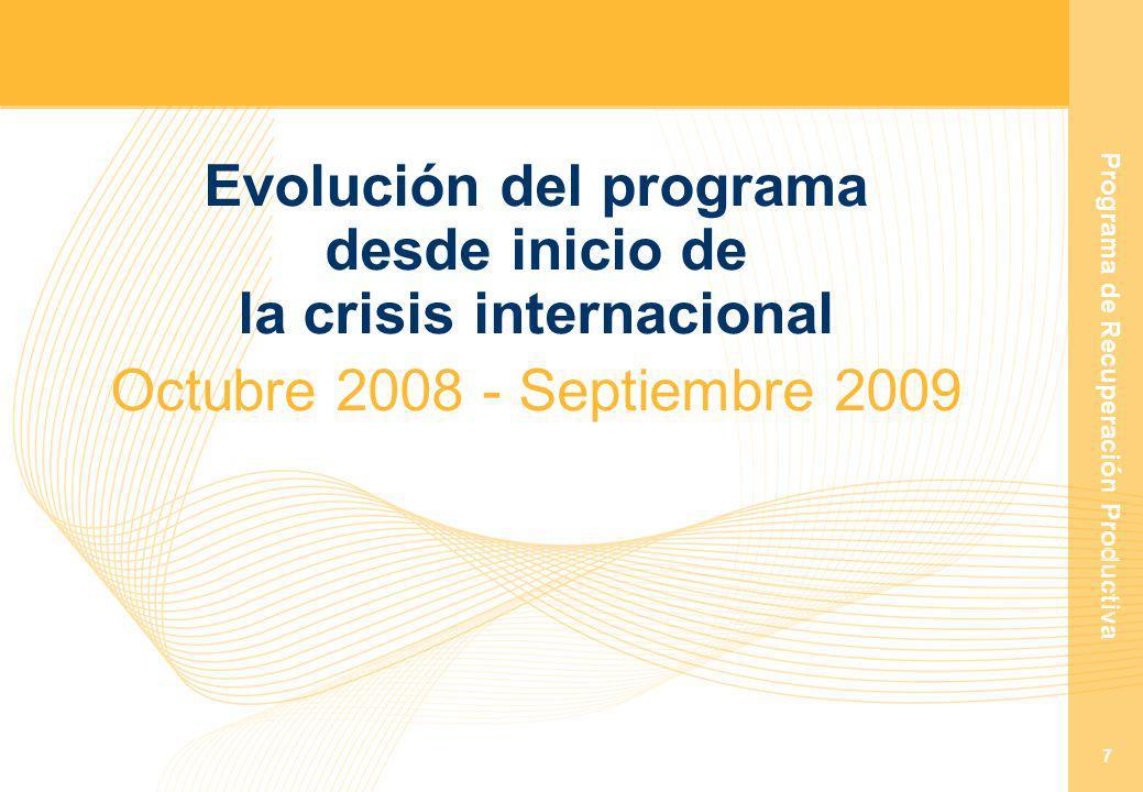 Programa de Recuperación Productiva 7 Evolución del programa desde inicio de la crisis internacional Octubre 2008 - Septiembre 2009