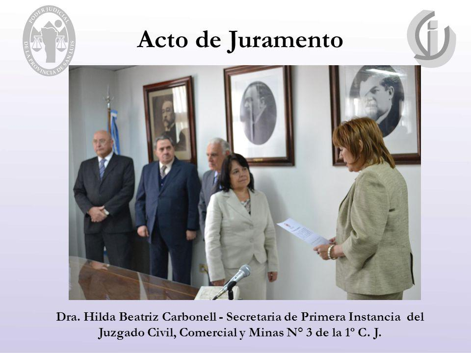 Dra. Hilda Beatriz Carbonell - Secretaria de Primera Instancia del Juzgado Civil, Comercial y Minas N° 3 de la 1º C. J.