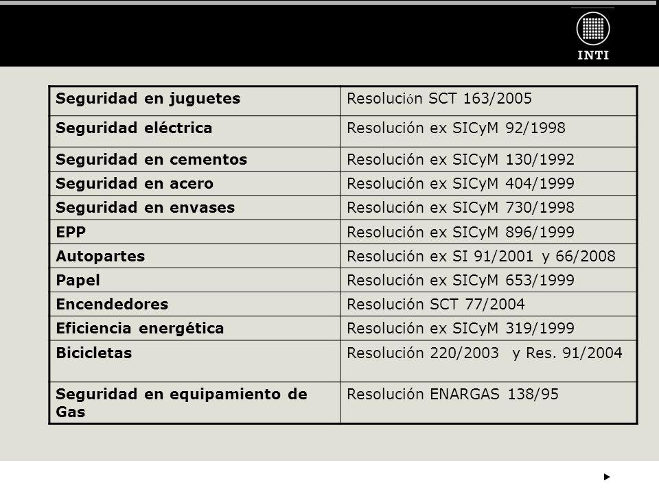 Seguridad en juguetesResoluci ó n SCT 163/2005 Seguridad eléctricaResolución ex SICyM 92/1998 Seguridad en cementosResolución ex SICyM 130/1992 Seguri