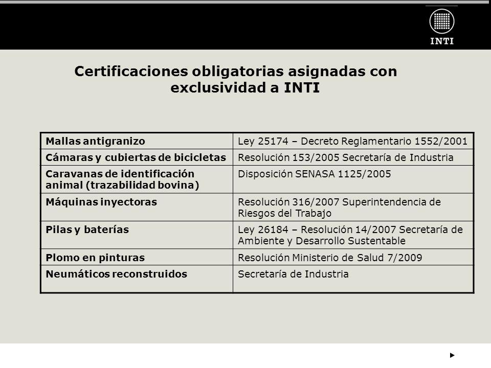 Certificaciones obligatorias asignadas con exclusividad a INTI Mallas antigranizoLey 25174 – Decreto Reglamentario 1552/2001 Cámaras y cubiertas de bicicletasResolución 153/2005 Secretaría de Industria Caravanas de identificación animal (trazabilidad bovina) Disposición SENASA 1125/2005 Máquinas inyectorasResolución 316/2007 Superintendencia de Riesgos del Trabajo Pilas y bateríasLey 26184 – Resolución 14/2007 Secretaría de Ambiente y Desarrollo Sustentable Plomo en pinturasResolución Ministerio de Salud 7/2009 Neumáticos reconstruidosSecretaría de Industria