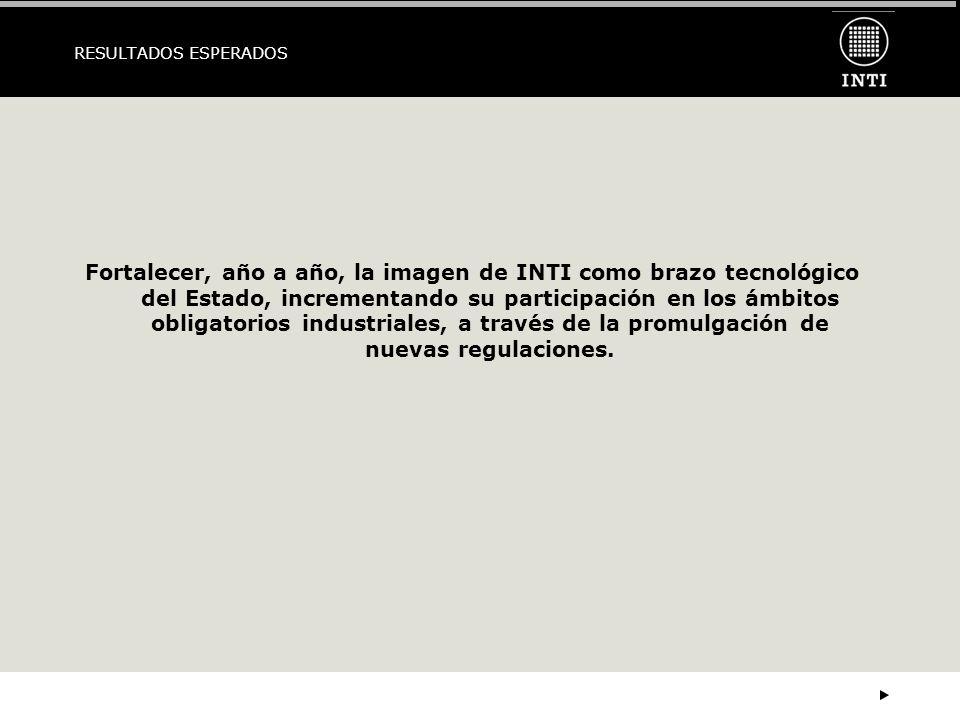 RESULTADOS ESPERADOS Fortalecer, año a año, la imagen de INTI como brazo tecnológico del Estado, incrementando su participación en los ámbitos obligatorios industriales, a través de la promulgación de nuevas regulaciones.