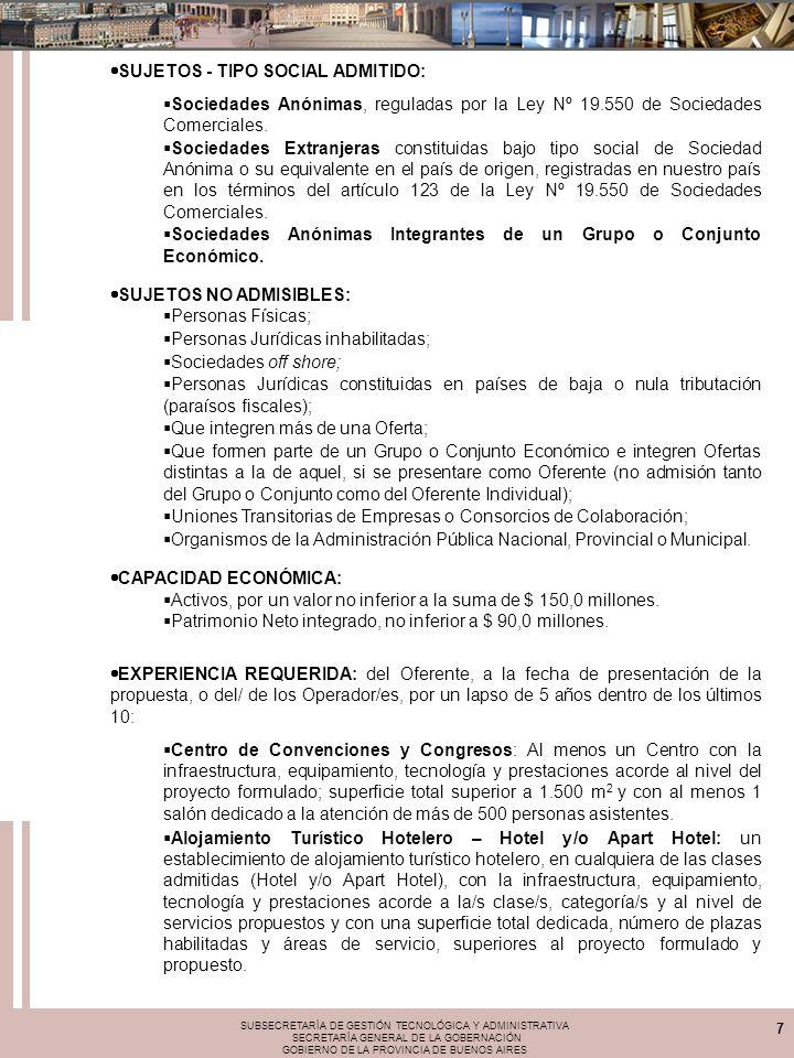SUBSECRETARÍA DE GESTIÓN TECNOLÓGICA Y ADMINISTRATIVA SECRETARÍA GENERAL DE LA GOBERNACIÓN GOBIERNO DE LA PROVINCIA DE BUENOS AIRES 7 SUJETOS - TIPO SOCIAL ADMITIDO: Sociedades Anónimas, reguladas por la Ley Nº 19.550 de Sociedades Comerciales.