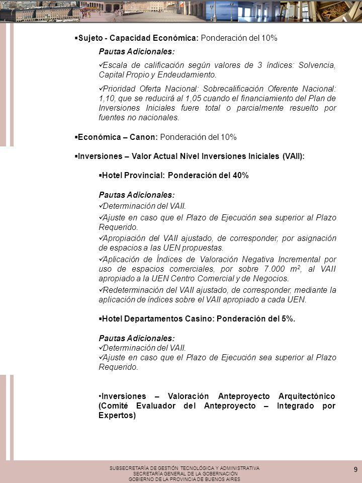 SUBSECRETARÍA DE GESTIÓN TECNOLÓGICA Y ADMINISTRATIVA SECRETARÍA GENERAL DE LA GOBERNACIÓN GOBIERNO DE LA PROVINCIA DE BUENOS AIRES 9 Sujeto - Capacid