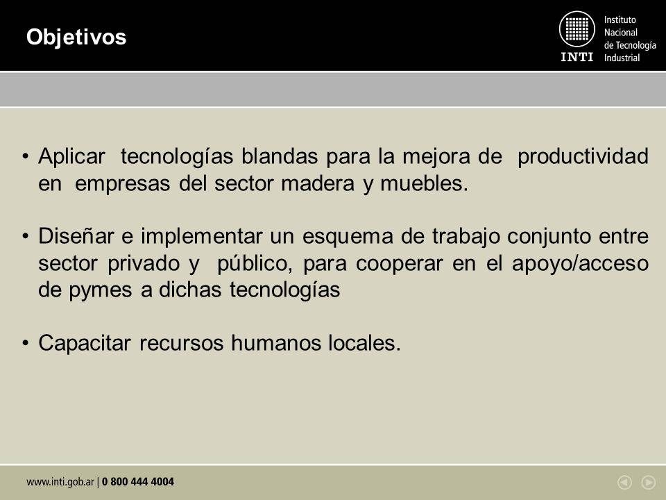 Objetivos Aplicar tecnologías blandas para la mejora de productividad en empresas del sector madera y muebles.