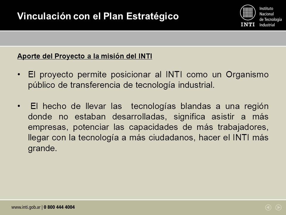 Vinculación con el Plan Estratégico Aporte del Proyecto a la misión del INTI El proyecto permite posicionar al INTI como un Organismo público de transferencia de tecnología industrial.