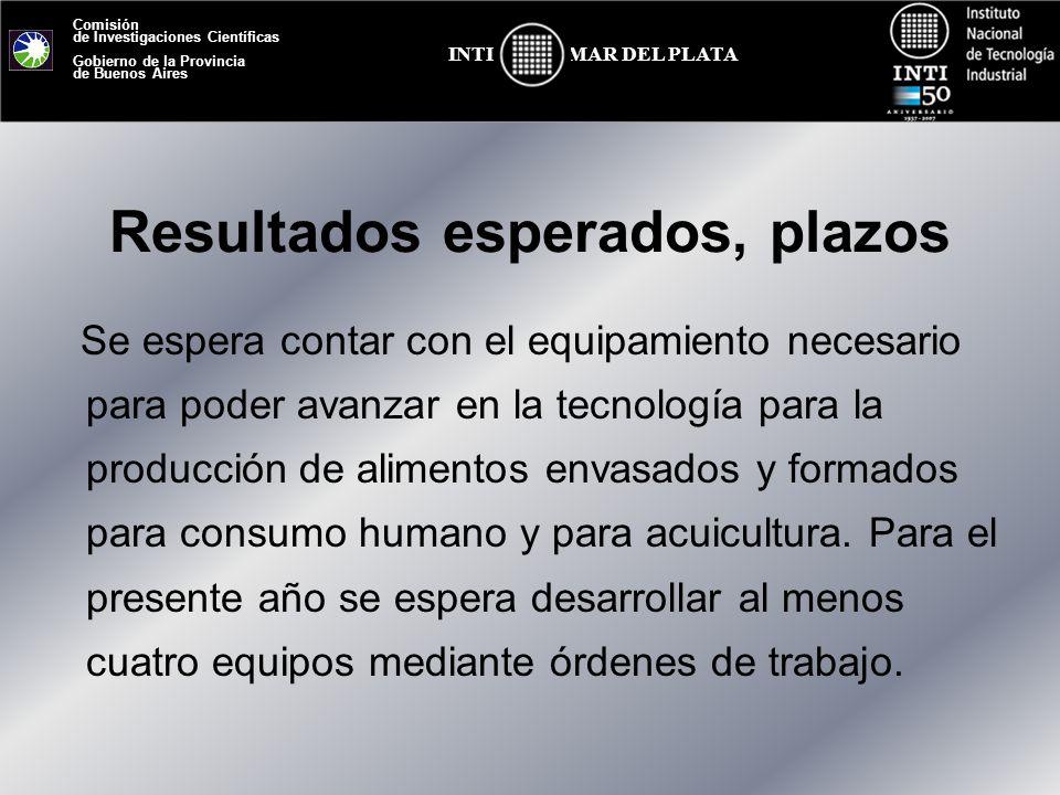 Comisión de Investigaciones Científicas Gobierno de la Provincia de Buenos Aires MAR DEL PLATAINTI Resultados esperados, plazos Se espera contar con e