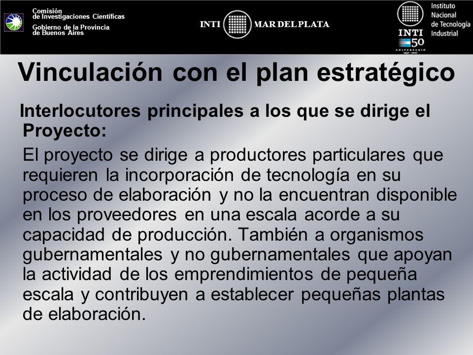 Comisión de Investigaciones Científicas Gobierno de la Provincia de Buenos Aires MAR DEL PLATAINTI Vinculación con el plan estratégico Interlocutores