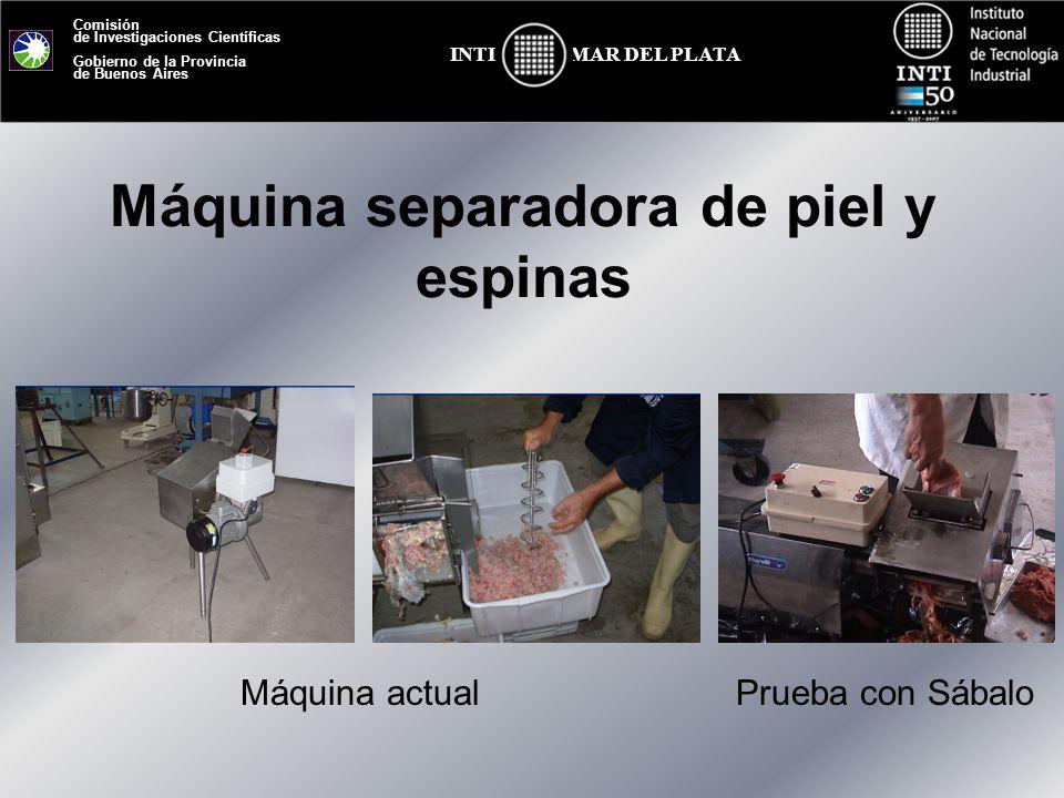 Comisión de Investigaciones Científicas Gobierno de la Provincia de Buenos Aires MAR DEL PLATAINTI Máquina separadora de piel y espinas Máquina actual