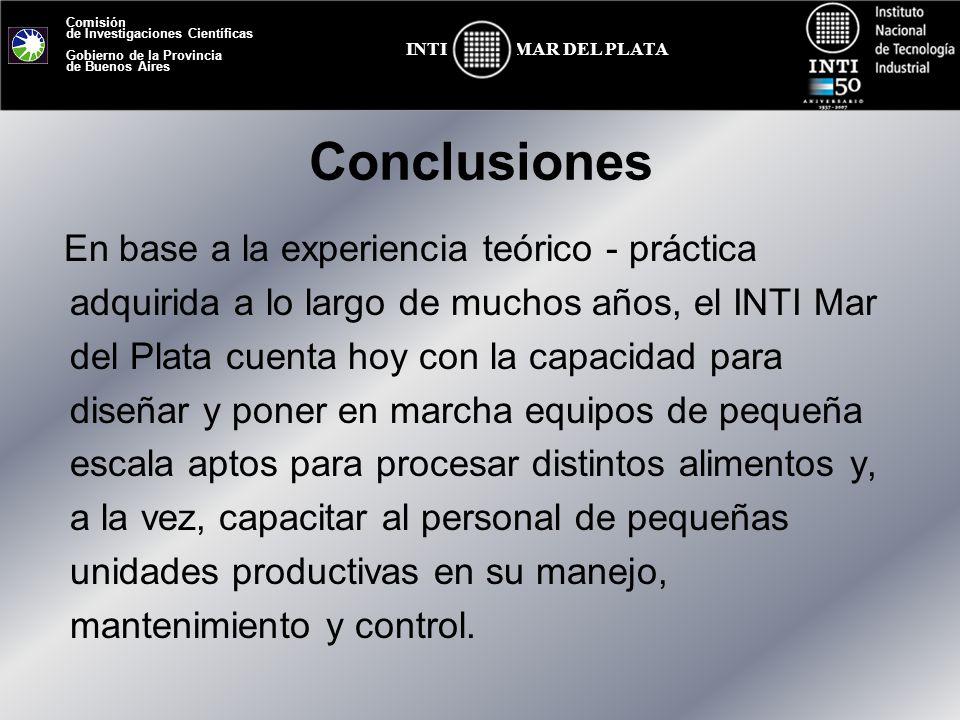 Comisión de Investigaciones Científicas Gobierno de la Provincia de Buenos Aires MAR DEL PLATAINTI Conclusiones En base a la experiencia teórico - prá