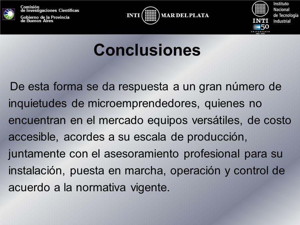 Comisión de Investigaciones Científicas Gobierno de la Provincia de Buenos Aires MAR DEL PLATAINTI Conclusiones De esta forma se da respuesta a un gra