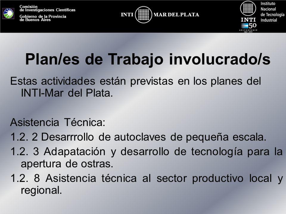 Comisión de Investigaciones Científicas Gobierno de la Provincia de Buenos Aires MAR DEL PLATAINTI Estas actividades están previstas en los planes del