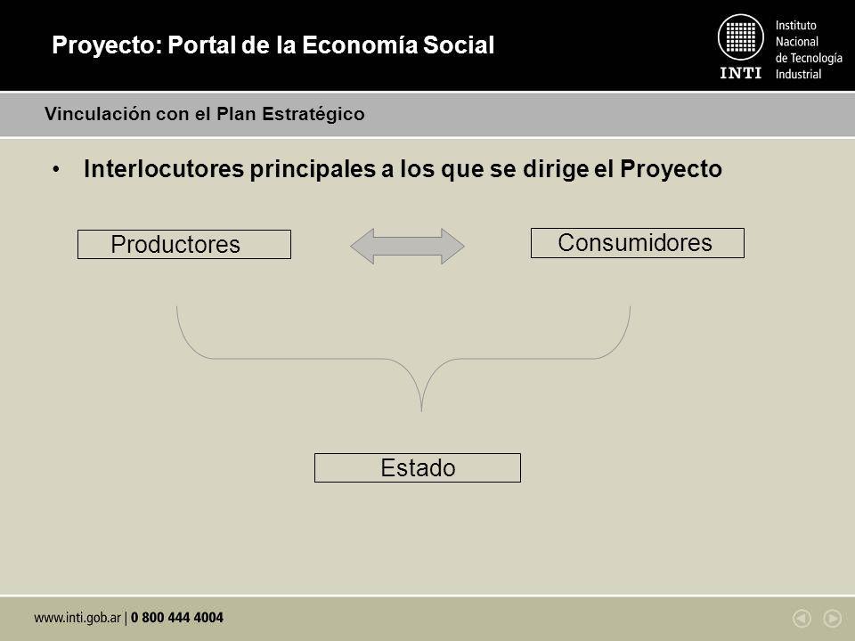 Proyecto: Portal de la Economía Social Interlocutores principales a los que se dirige el Proyecto Vinculación con el Plan Estratégico Productores Consumidores Estado