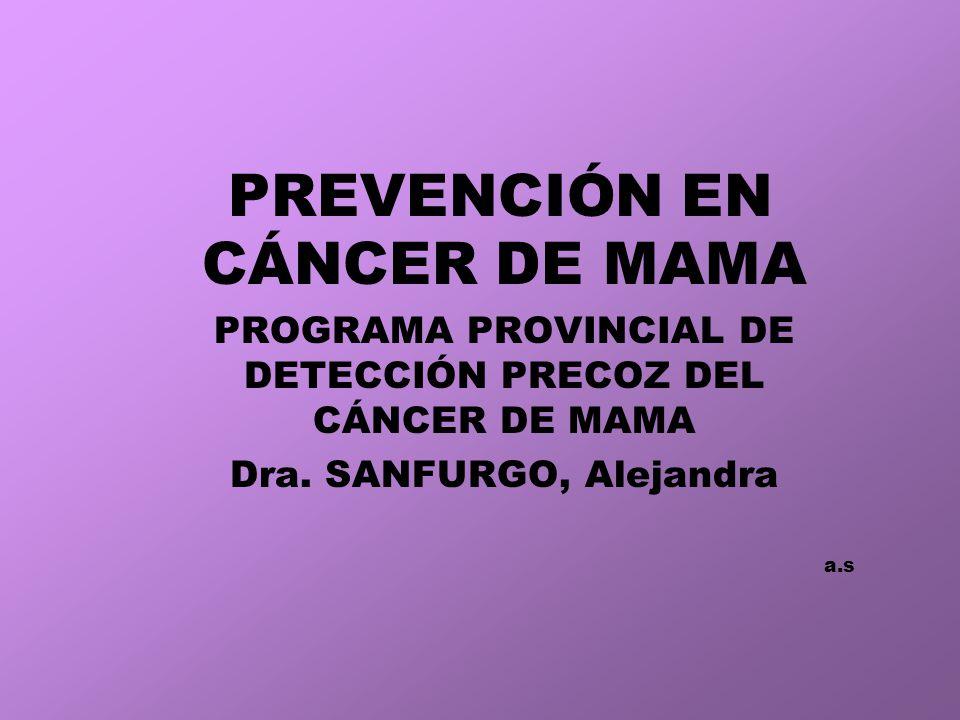 PREVENCIÓN EN CÁNCER DE MAMA PROGRAMA PROVINCIAL DE DETECCIÓN PRECOZ DEL CÁNCER DE MAMA Dra.