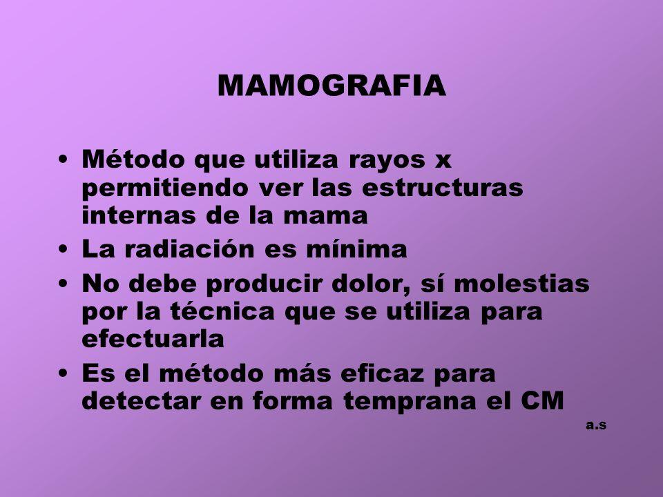 MAMOGRAFIA Método que utiliza rayos x permitiendo ver las estructuras internas de la mama La radiación es mínima No debe producir dolor, sí molestias por la técnica que se utiliza para efectuarla Es el método más eficaz para detectar en forma temprana el CM a.s