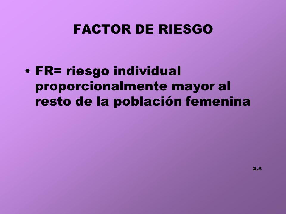 FACTOR DE RIESGO FR= riesgo individual proporcionalmente mayor al resto de la población femenina a.s