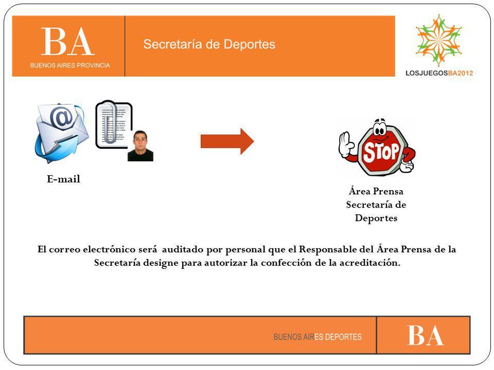 El correo electrónico será auditado por personal que el Responsable del Área Prensa de la Secretaría designe para autorizar la confección de la acreditación.