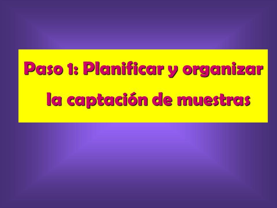 Paso 1: Planificar y organizar la captación de muestras
