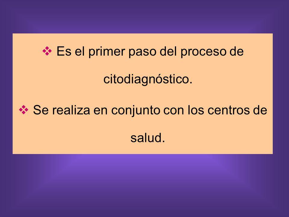 Es el primer paso del proceso de citodiagnóstico. Se realiza en conjunto con los centros de salud.