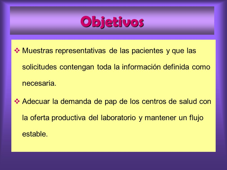 Objetivos Muestras representativas de las pacientes y que las solicitudes contengan toda la información definida como necesaria.
