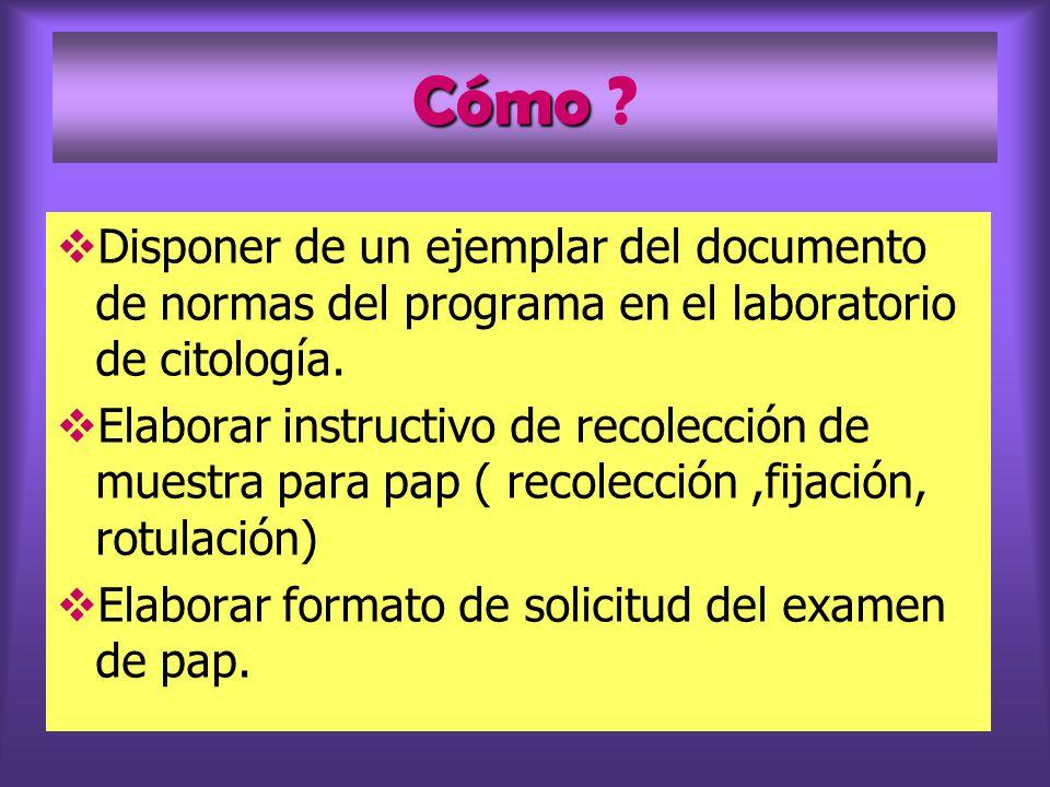 Cómo Cómo ? Disponer de un ejemplar del documento de normas del programa en el laboratorio de citología. Elaborar instructivo de recolección de muestr