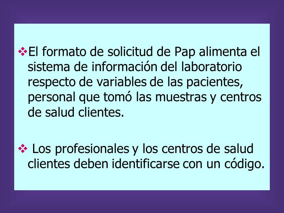 El formato de solicitud de Pap alimenta el sistema de información del laboratorio respecto de variables de las pacientes, personal que tomó las muestr