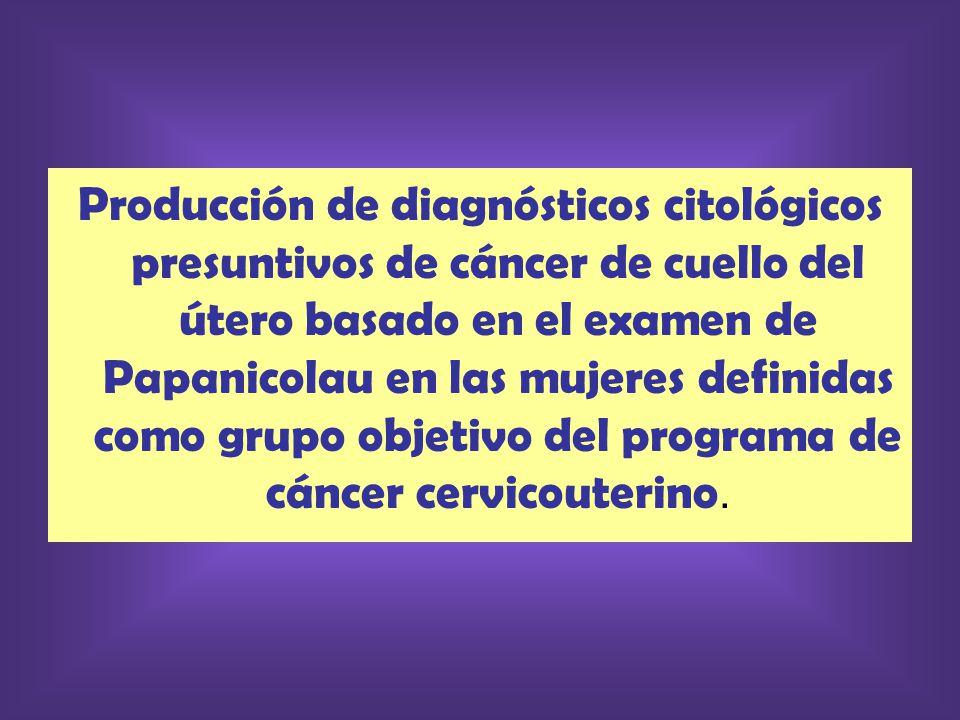 Producción de diagnósticos citológicos presuntivos de cáncer de cuello del útero basado en el examen de Papanicolau en las mujeres definidas como grupo objetivo del programa de cáncer cervicouterino.