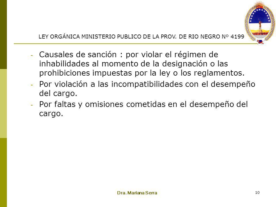 Dra. Mariana Serra 10 - Causales de sanción : por violar el régimen de inhabilidades al momento de la designación o las prohibiciones impuestas por la