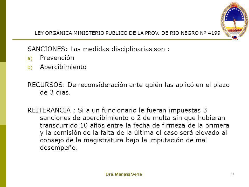 Dra. Mariana Serra 11 SANCIONES: Las medidas disciplinarias son : a) Prevención b) Apercibimiento RECURSOS: De reconsideración ante quién las aplicó e