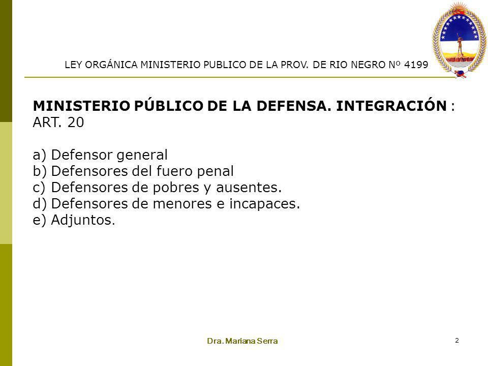 Dra. Mariana Serra 2 MINISTERIO PÚBLICO DE LA DEFENSA. INTEGRACIÓN : ART. 20 a)Defensor general b)Defensores del fuero penal c)Defensores de pobres y