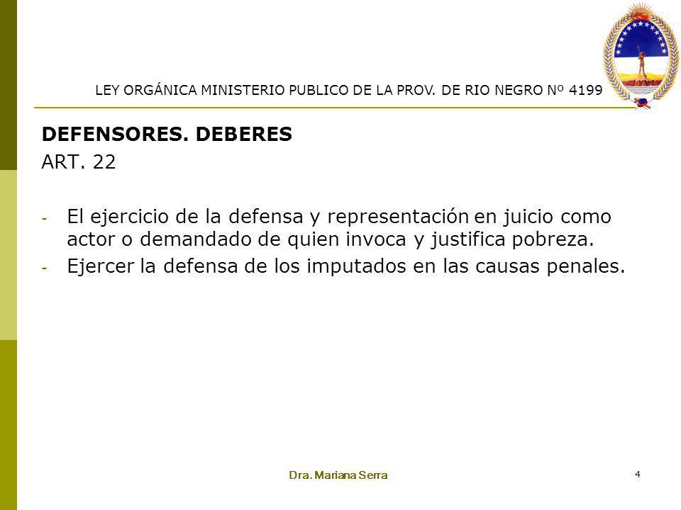 Dra. Mariana Serra 4 DEFENSORES. DEBERES ART. 22 - El ejercicio de la defensa y representación en juicio como actor o demandado de quien invoca y just